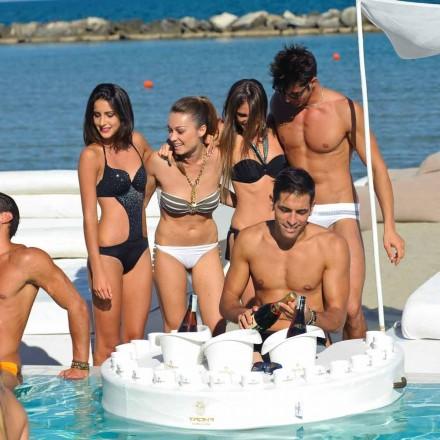 Trona bar plutitor de design faux plimbare cu barca din piele și metacrilat