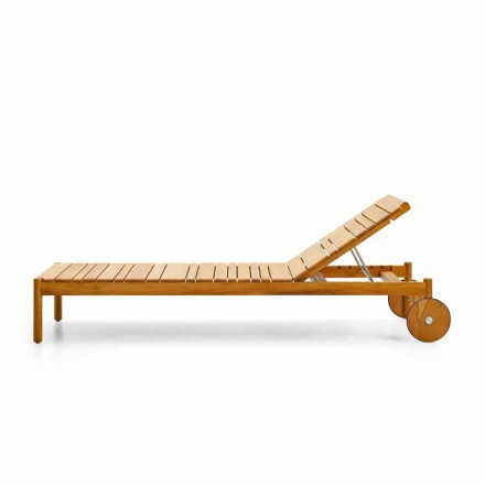 Varaschin Șezlonguri cu cod de bare cu roți în aer liber din lemn de tec