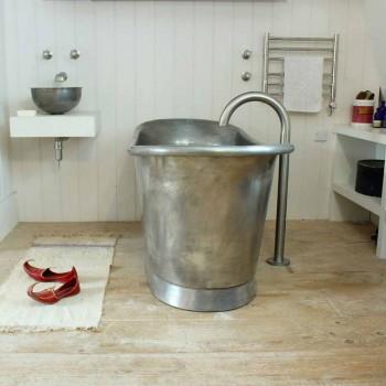 Cada de baie de sine statatoare baie de cupru terminat în nichel Julia