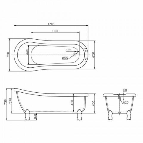 Baie de design modern, de sine statatoare acrilic alb Zori 1700x750mm