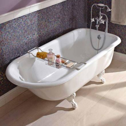 Cadă de design independentă vintage din fontă albă, realizată în Italia - Marwa