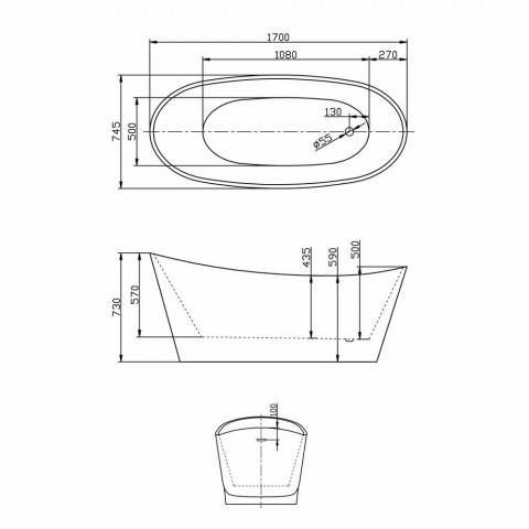 Baie de sine statatoare acrilic design modern alb Nataly, 1700x745mm