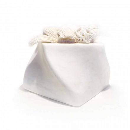 Vază de design decorativ în marmură Bardiglio sau Carrara Fabricată în Italia - Prisma