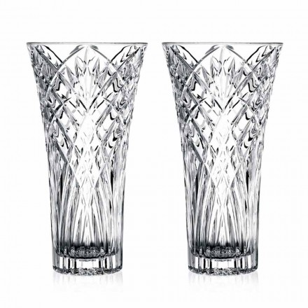 Vază de design vintage în cristal ecologic transparent 2 bucăți - Cantabile