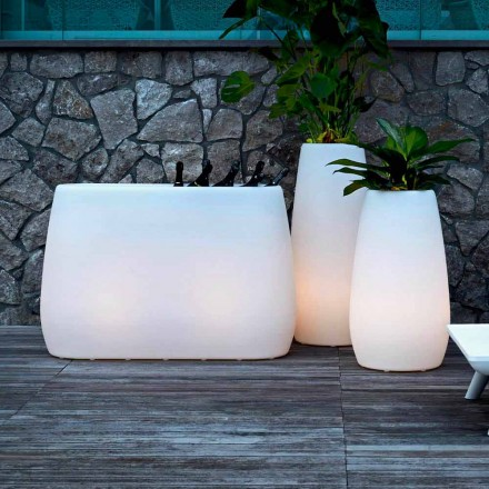 Vaza jardiniere din plastic luminos, design în 3 dimensiuni, 2 bucăți - Pandora by Myyour