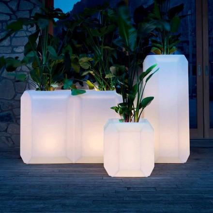 Vaza luminoasă din plastic pentru exterior sau interior, 3 dimensiuni, 2 bucăți - Gem de Myyour