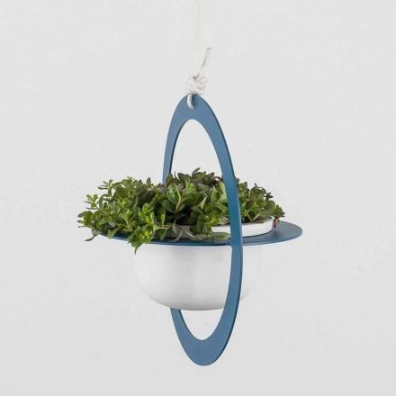 Vaza cu flori suspendata din otel si ceramica Made in Italy - Leotta