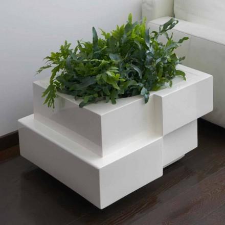 Vaza decorativă pe roți pentru exterior / interior Slide Cubic Yo, fabricată în Italia