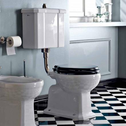 WC montat pe podea cu casetă din ceramică și scaun negru Made in Italy - Marwa