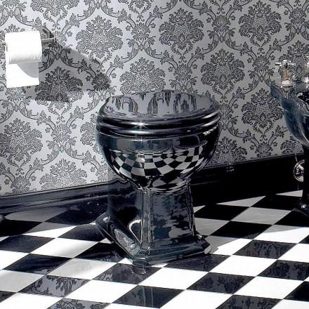 Vază clasică wc în ceramică neagră cu scaun, fabricată în Italia - Marwa
