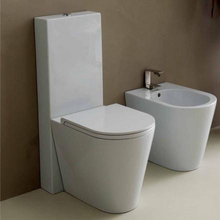 Vas WC în moderne alb ceramice rotund al soarelui 57x37 cm Made in Italy