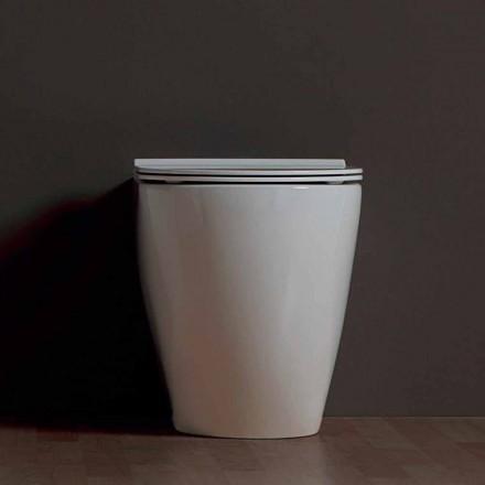Vas WC modern, alb Shine pătrat ceramice fără ramă Made in Italy