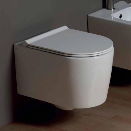 Pot toaletă suspendat în design modern Shine pătrat ceramice, realizate în Italia
