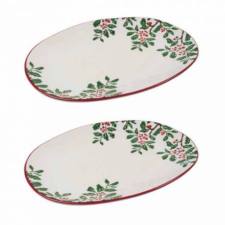 Tava de Crăciun sau farfurie ovală din porțelan 2 bucăți - Pungitopo