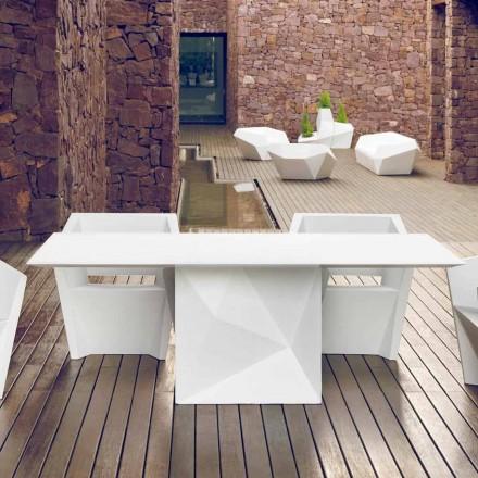 Vondom Faz masă de grădină albă lăcuită L200xP100cm de design